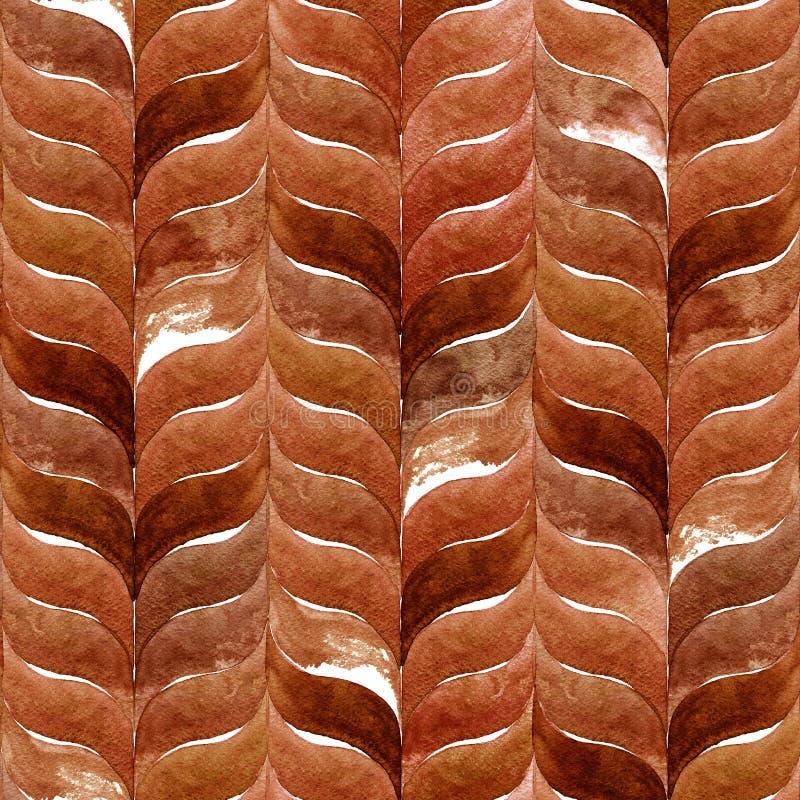 水彩与咖啡褐色叶子的秋天背景 无缝抽象的模式 库存照片