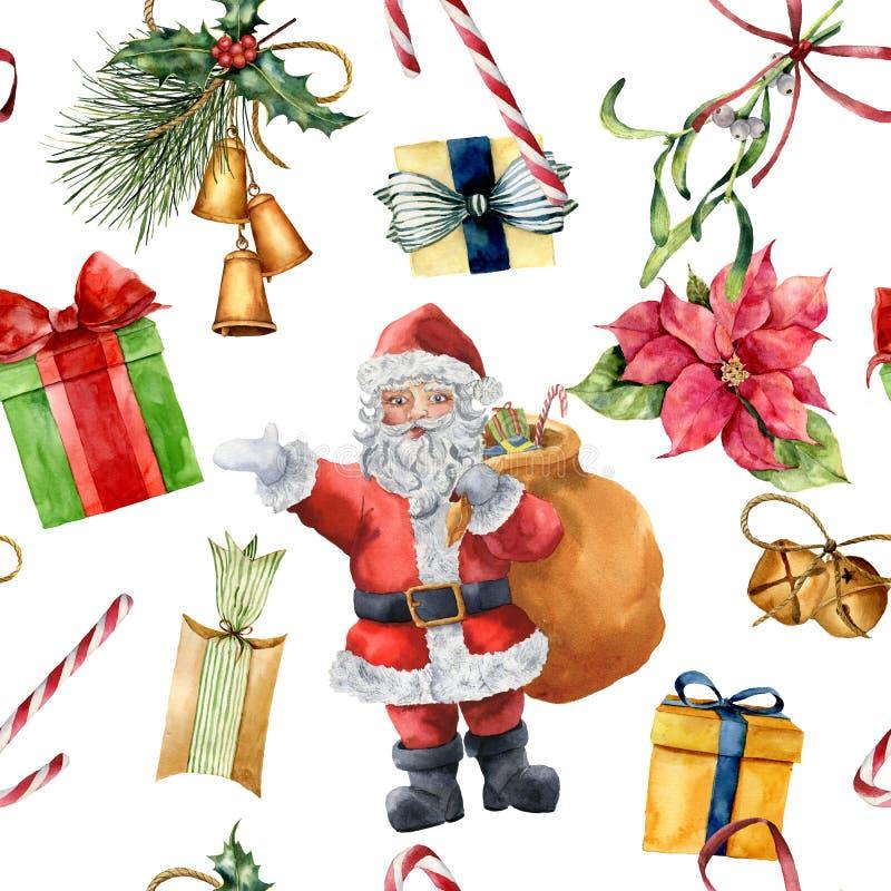 水彩与圣诞老人和传统装饰的圣诞节样式 与弓,糖果,响铃的手画giftbox 皇族释放例证