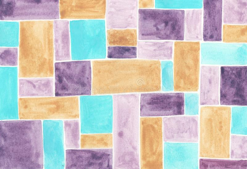 水彩与多彩多姿的正方形的摘要背景 皇族释放例证