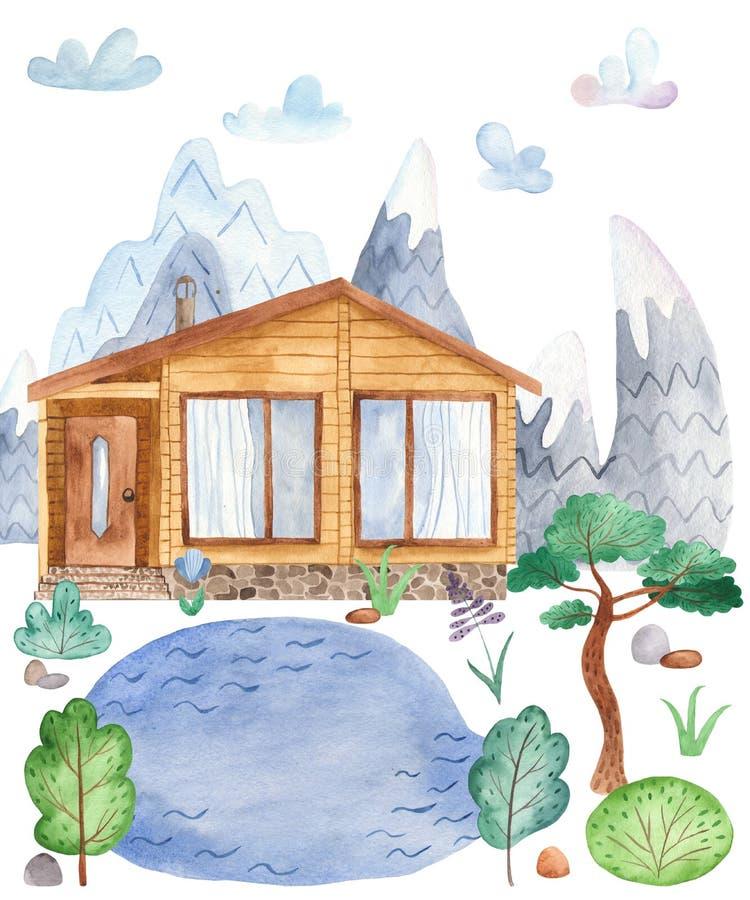 水彩与山欧洲人风景的贺卡 库存例证