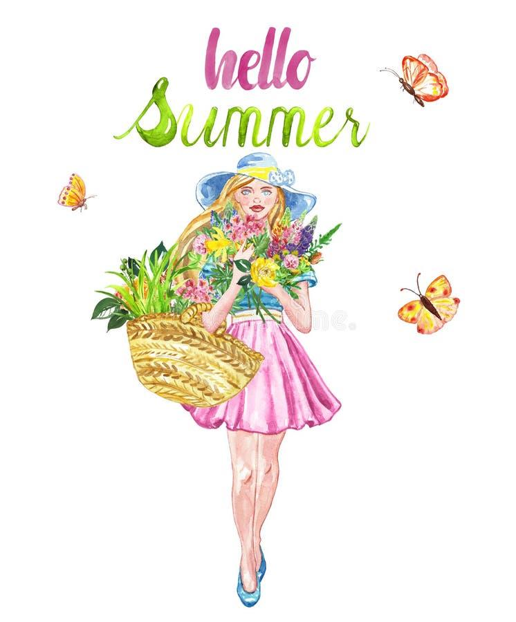 水彩与年轻俏丽的野花女孩和花束的夏天例证,隔绝在白色背景 E 向量例证