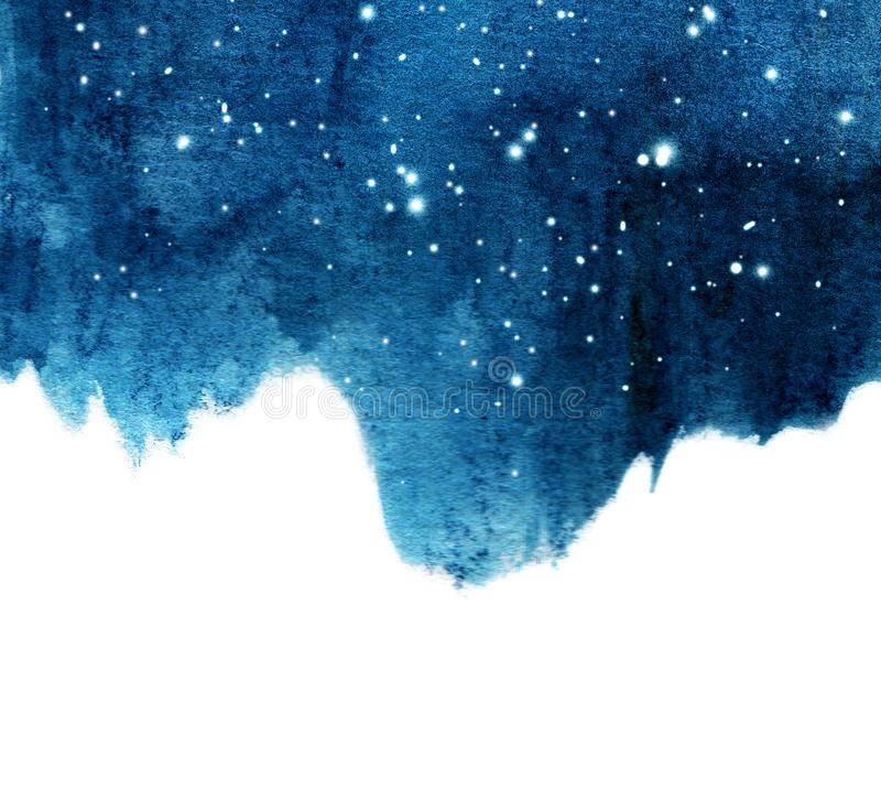 水彩与星的夜空背景 免版税库存图片
