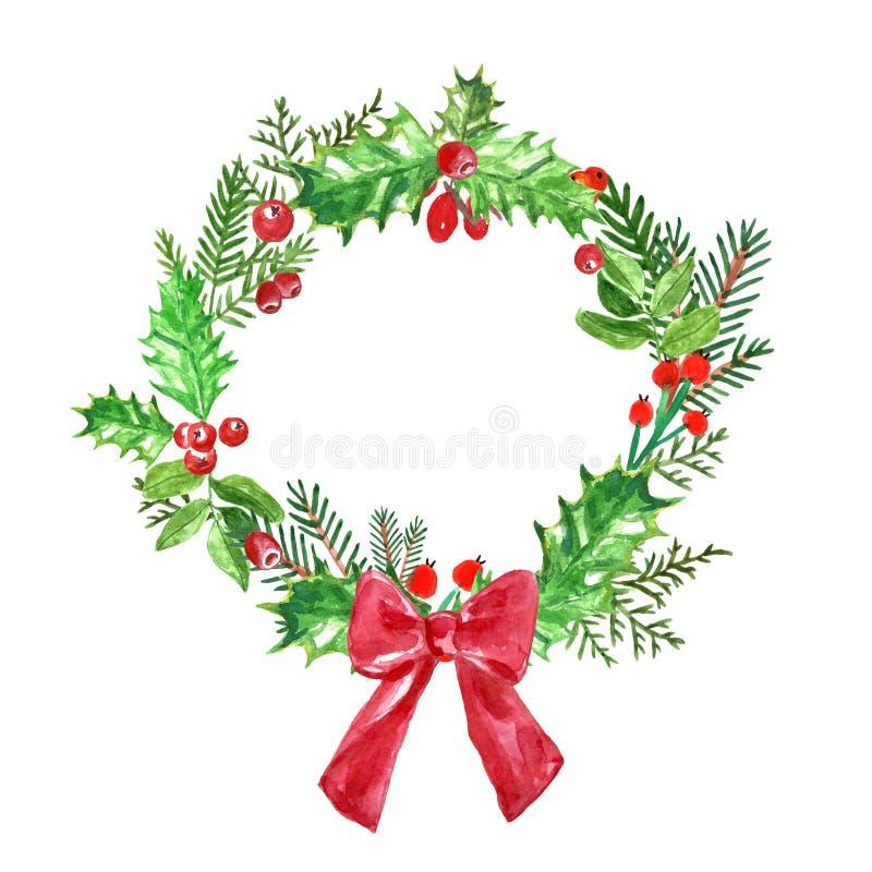 水彩与杉木分支、霍莉、槲寄生和云杉的圣诞节花圈 在白色背景的寒假装饰 向量例证