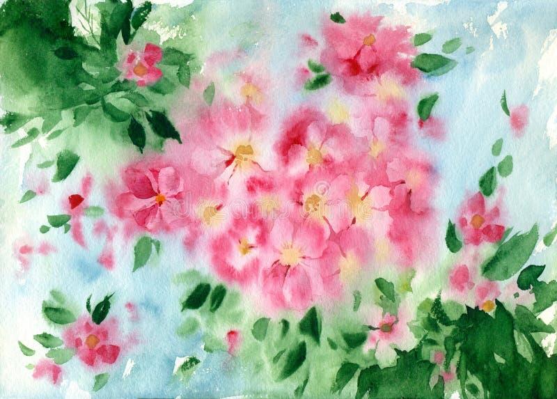 水彩与桃红色花的贺卡 皇族释放例证