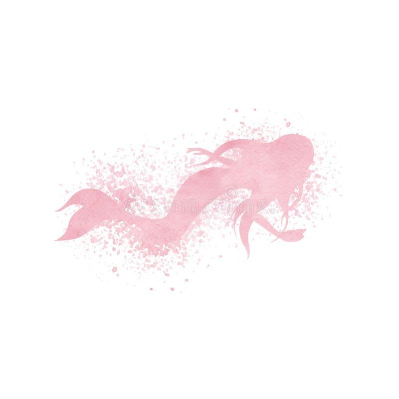 水彩与油漆泼溅物和浪花作用的美人鱼剪影在桃红色淡色 向量例证