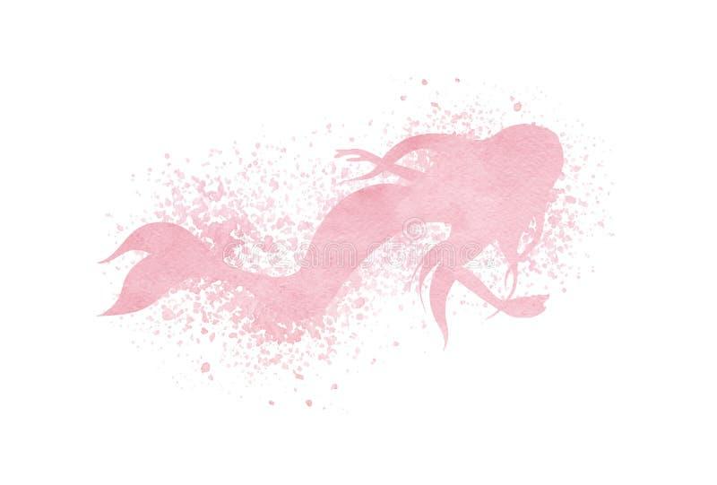 水彩与油漆泼溅物和浪花effe的美人鱼剪影 库存例证