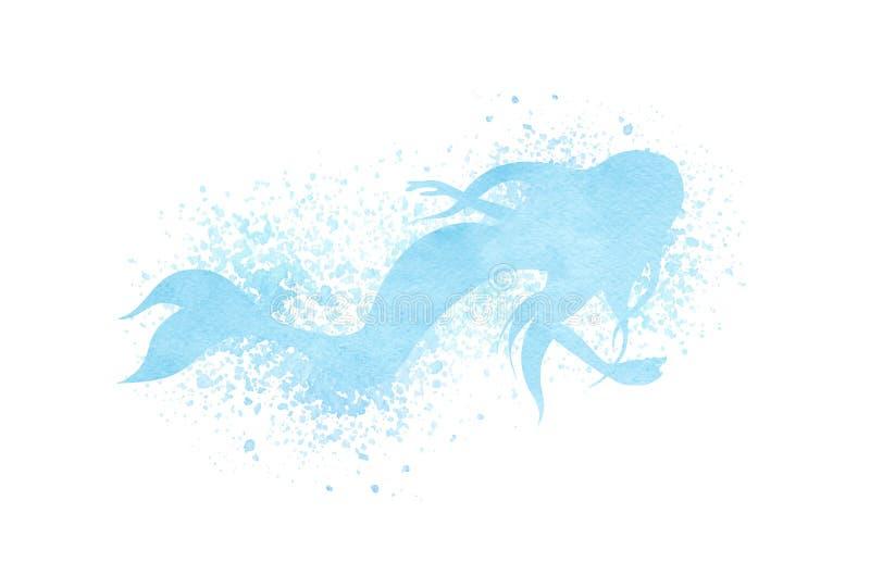 水彩与油漆泼溅物的美人鱼剪影在蓝色颜色 向量例证
