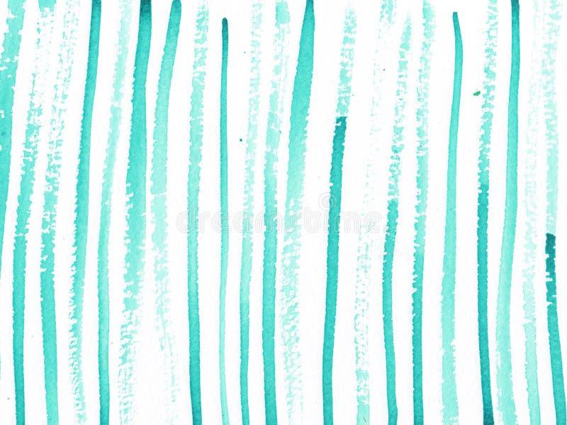 水彩与绿松石线的摘要背景 库存例证