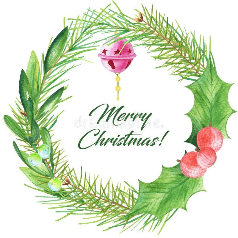 水彩与绿色叶子、霍莉、门铃和杉木分支的圣诞节花圈 皇族释放例证