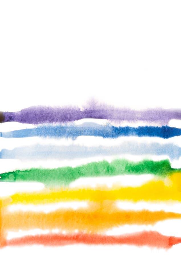 水彩与自由白色空间的彩虹背景 库存例证