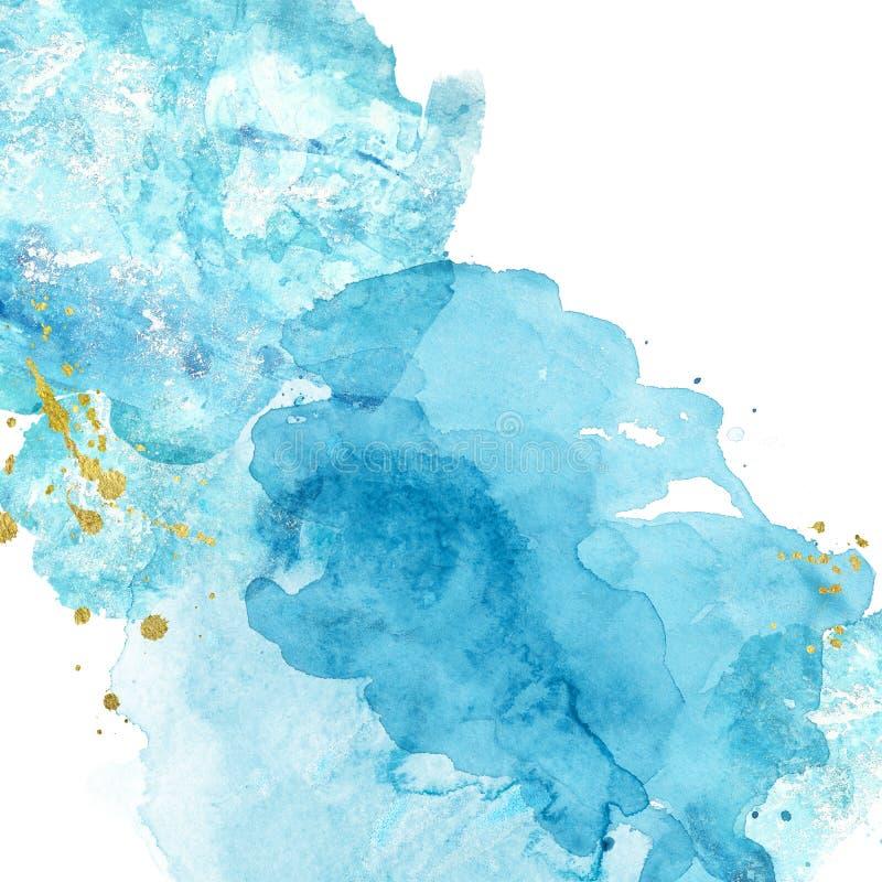 水彩与蓝色和绿松石的摘要背景飞溅油漆在白色 手画纹理 海的模仿 免版税库存图片