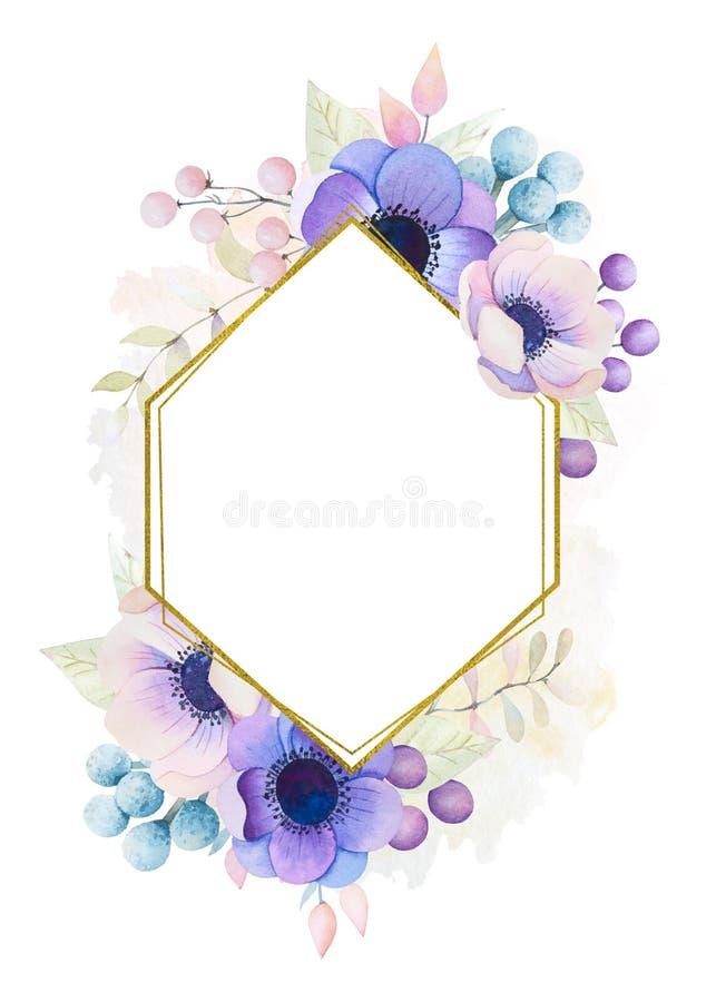 水彩与银莲花属的贺卡 库存例证