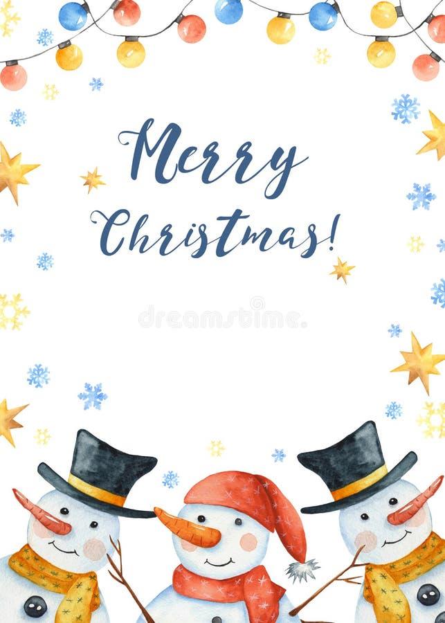水彩与雪人的冬天卡片,雪花,圣诞节玩具,随风飘飞的雪 库存例证