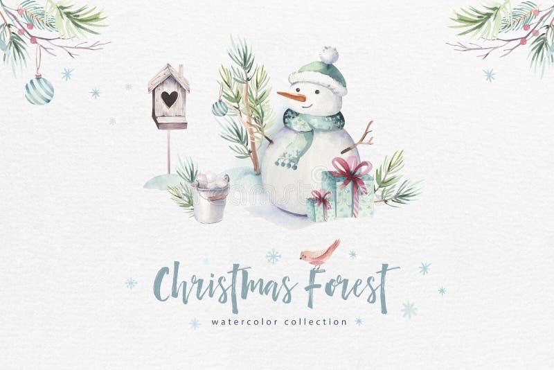 水彩与雪人,假日逗人喜爱的动物鹿,兔子的圣诞快乐例证 圣诞节庆祝卡片 库存例证
