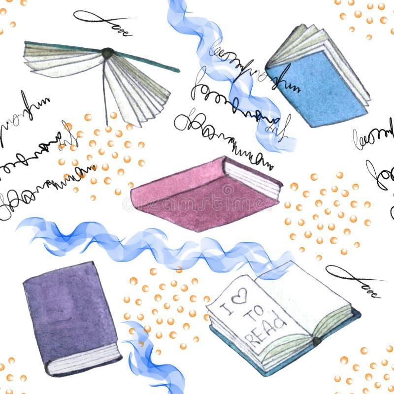 水彩书图解 在白色背景隔绝的手画堆书 皇族释放例证
