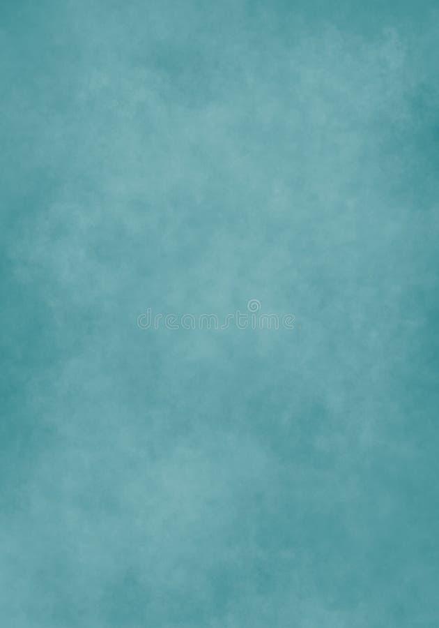 水彩云彩,老纸,蓝绿色纹理 库存例证