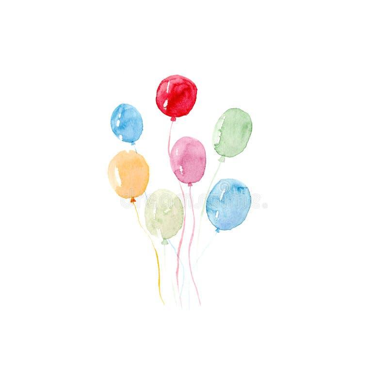 水彩五颜六色的假日剪影气球在白色背景设置了特写镜头被隔绝 库存例证