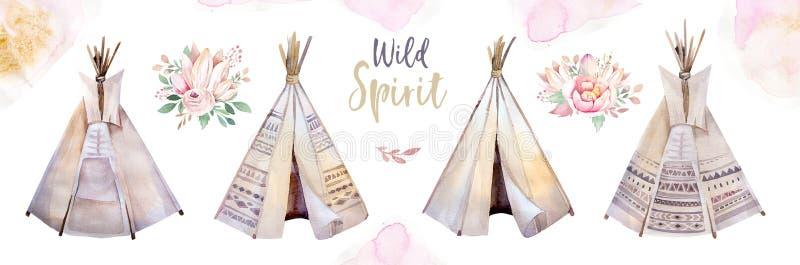 水彩五颜六色的种族套在当地美国风格的圆锥形帐蓬和花花束 部族那瓦伙族人被隔绝的圆锥形小屋 向量例证