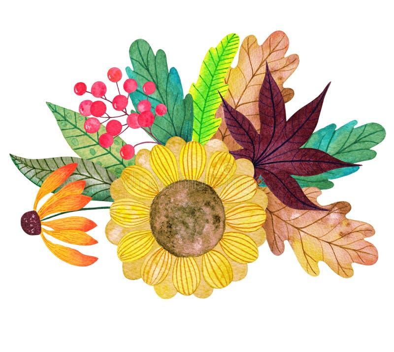 水彩五颜六色的结构的花、叶子和莓果 免版税图库摄影