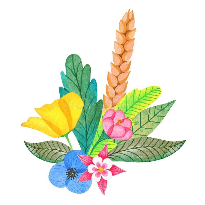 水彩五颜六色的结构的花和叶子 库存照片