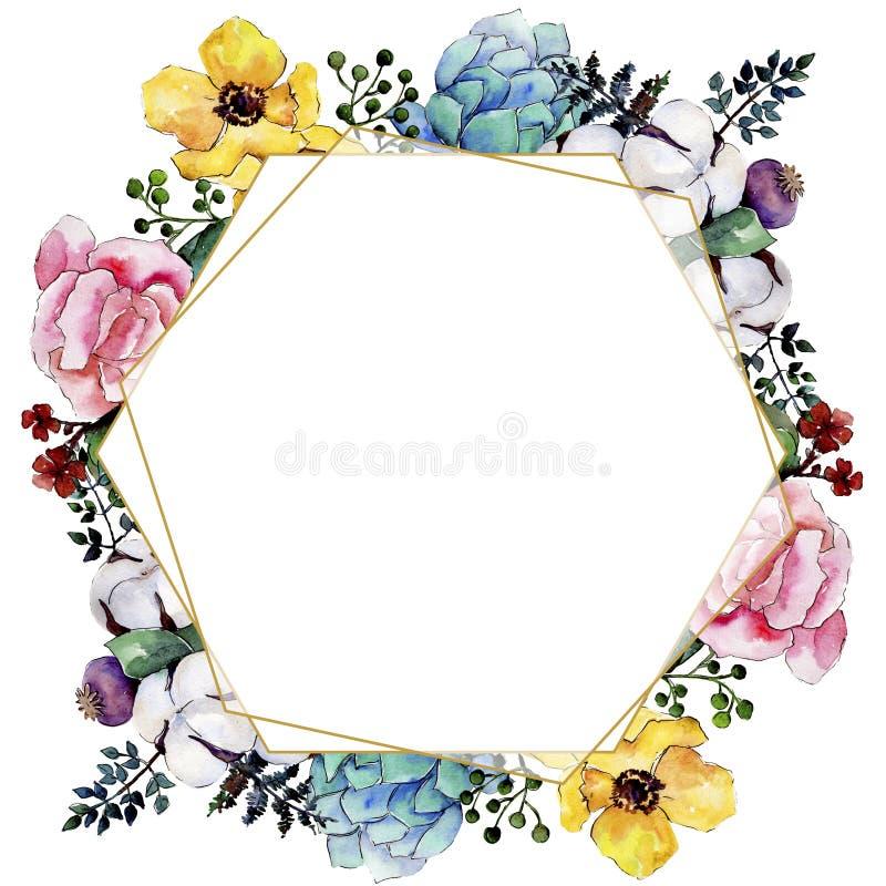 水彩五颜六色的花束花 花卉植物的花 框架边界装饰品正方形 皇族释放例证