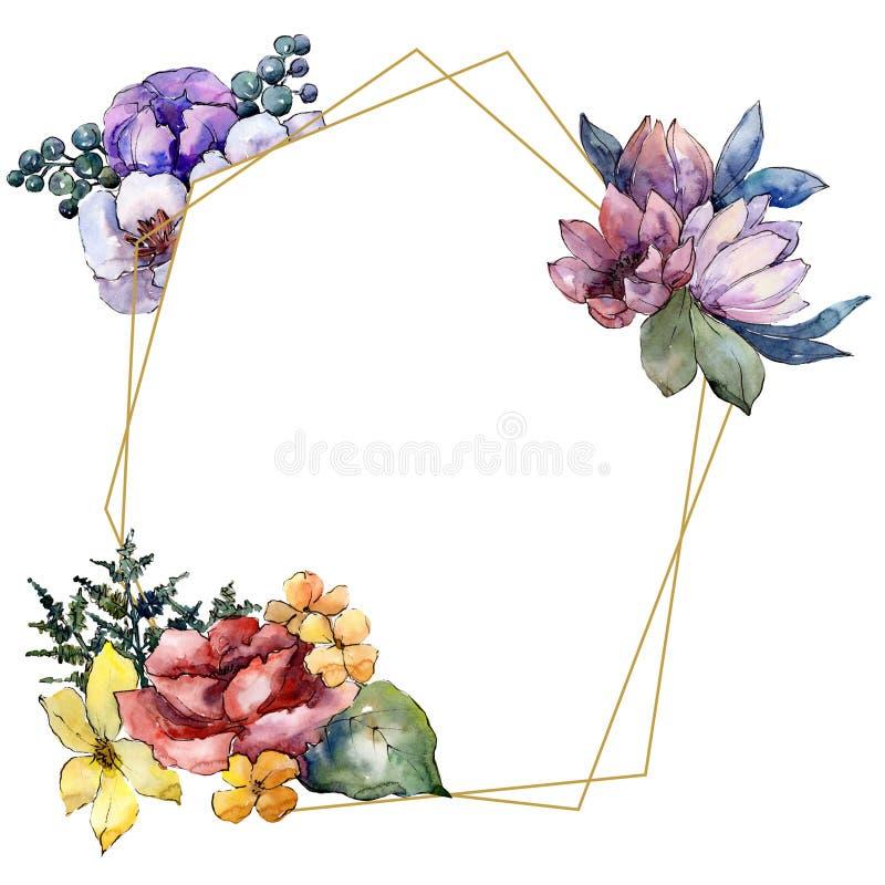 水彩五颜六色的花束花 花卉植物的花 框架边界装饰品正方形 向量例证