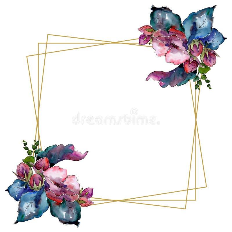 水彩五颜六色的花束花 花卉植物的花 框架边界装饰品正方形 库存例证