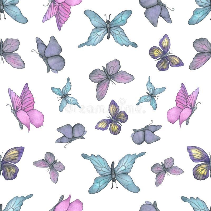 水彩五颜六色的蝴蝶图案 向量例证