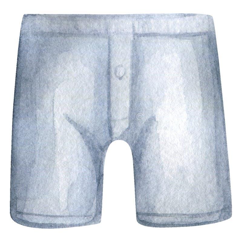 水彩人内裤 人内衣 拳击手短裤 向量例证