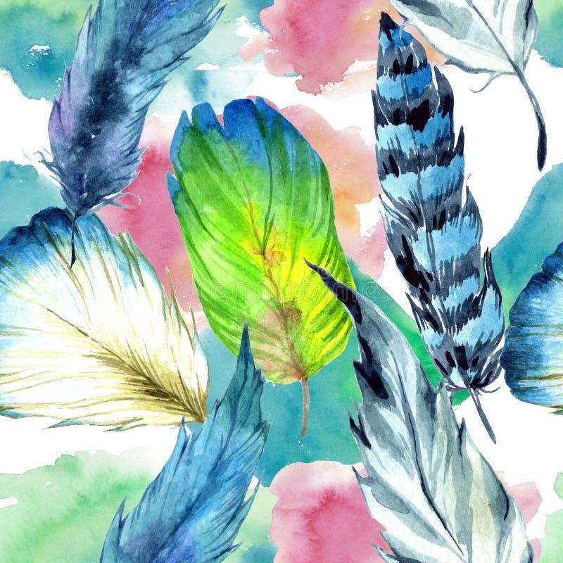 水彩从翼的鸟羽毛 无缝的背景模式 织品墙纸印刷品纹理 库存例证