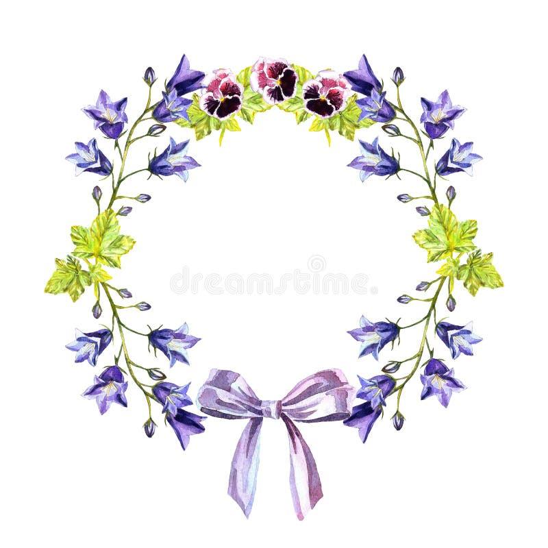 水彩会开蓝色钟形花的草、叶子、紫色浅紫色的丝带紫罗兰和弓圈子框架  库存例证