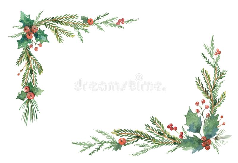 水彩传染媒介与冷杉分支和地方的圣诞节框架文本的 库存例证