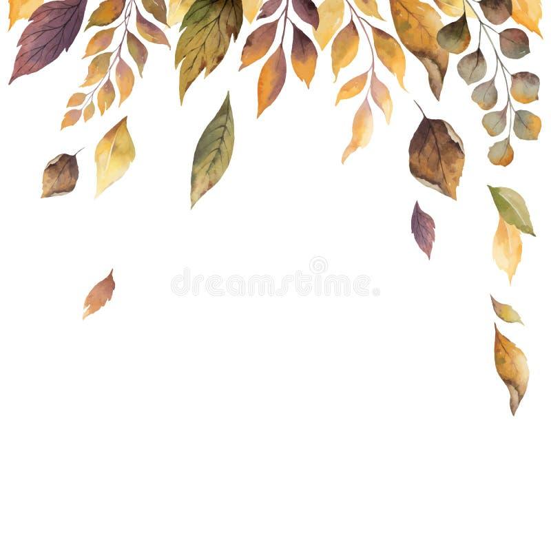 水彩传染媒介与在白色背景隔绝的落叶的秋天卡片 皇族释放例证