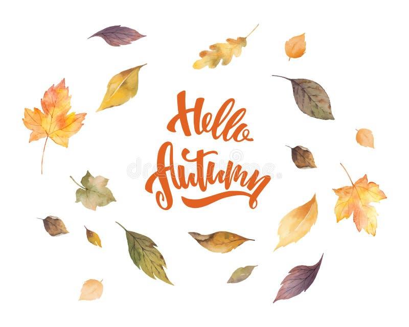 水彩传染媒介卡片用在白色背景隔绝的手在你好秋天上写字的和叶子 库存例证