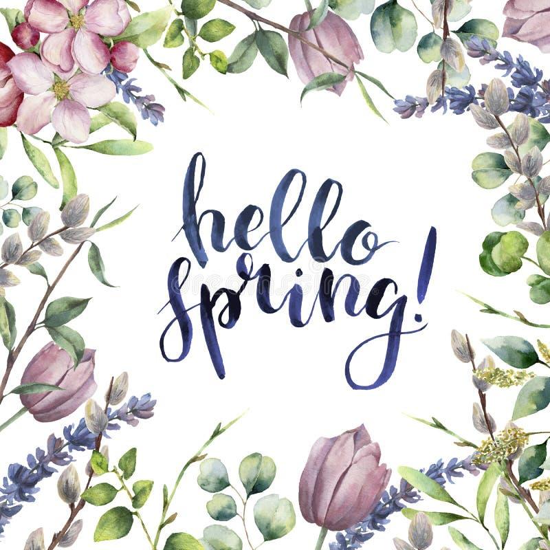 水彩你好春天花卉卡片 与玉树的手画例证离开,苹果开花,郁金香,杨柳 库存例证