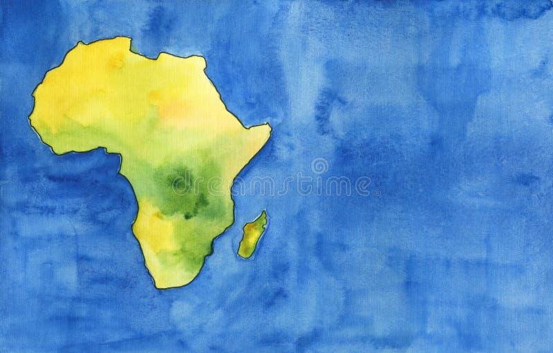 水彩例证:非洲的大陆,物理地图,蓝色背景 库存例证