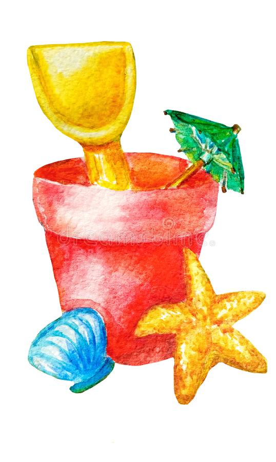 水彩儿童的海滩玩具为夏天用桶提,锹、在白色背景中和海星隔绝的伞、壳作为概念 皇族释放例证