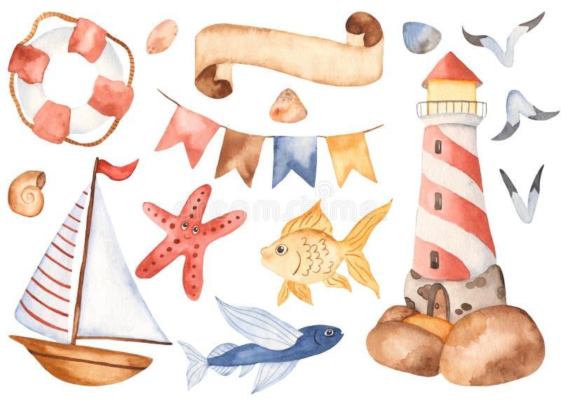 水彩儿童的逗人喜爱的动画片设置与灯塔,风船,旗子,鱼 皇族释放例证