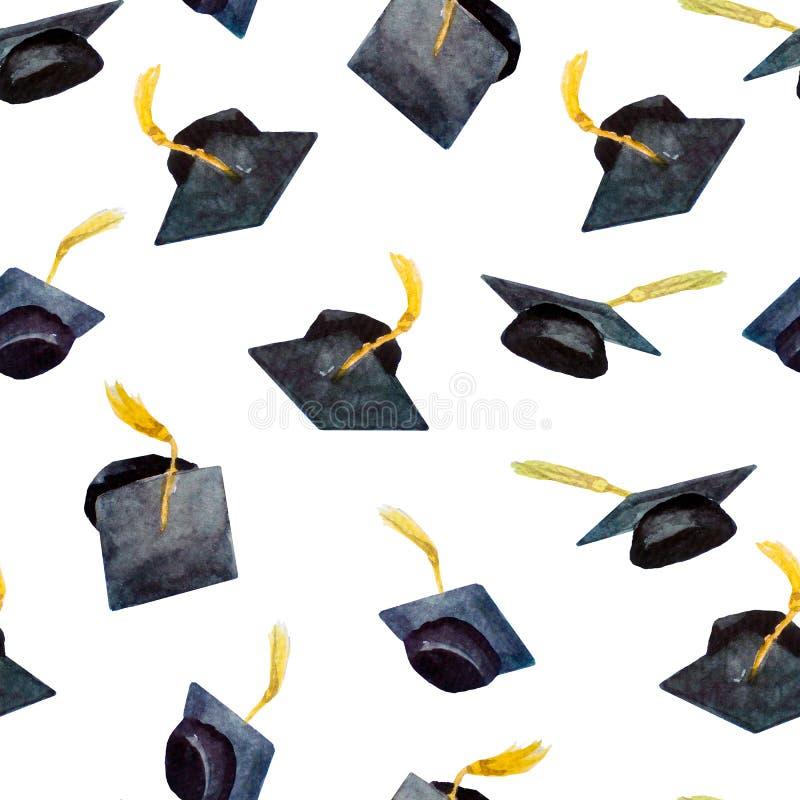 水彩元素,手拉的毕业盖帽的无缝的样式毕业的 皇族释放例证