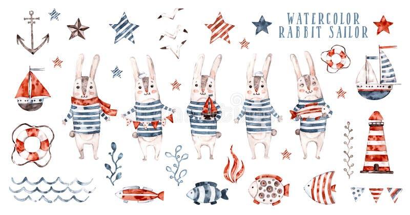 水彩兔子水手,动画片海员集合 免版税库存图片