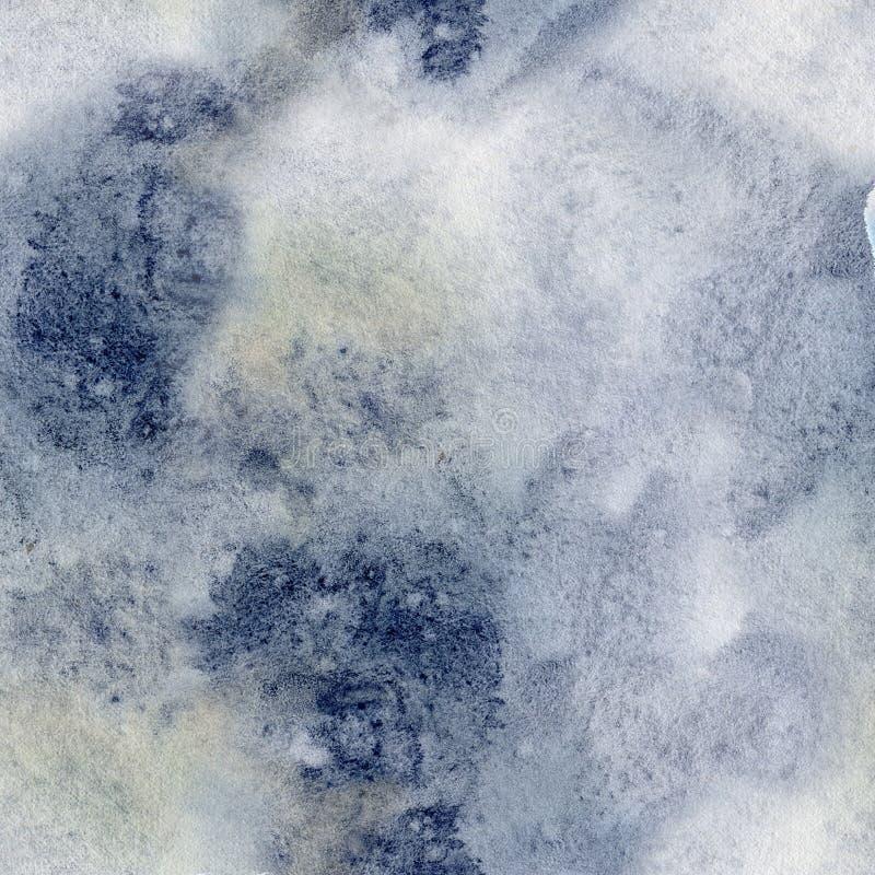 水彩冬天摘要样式 手画蓝色和黄斑 设计的假日背景,印刷品,织品 免版税库存照片