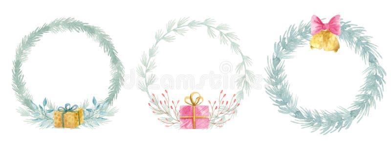 水彩冬天花卉冷杉花圈 圣诞快乐和新年快乐假日装饰卡片设计 ?? 库存图片