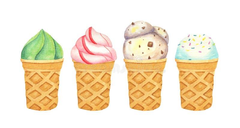 水彩冰淇淋杯的被隔绝的例证 库存例证
