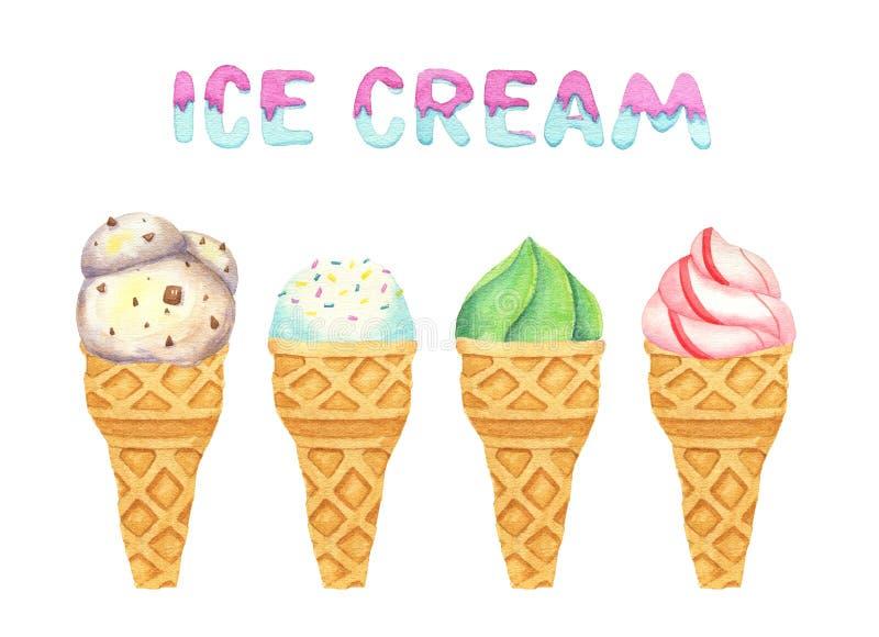 水彩冰淇淋锥体的被隔绝的例证 lottering 皇族释放例证