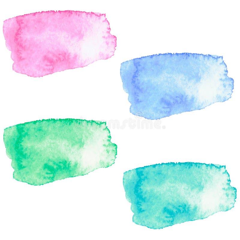 水彩刷子冲程集合 库存图片