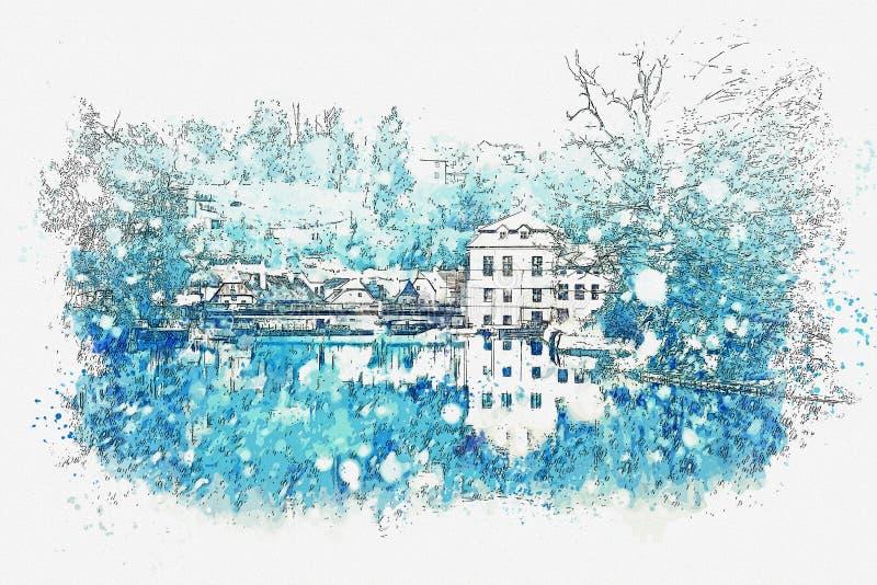 水彩剪影或一条街道的例证有房子的在冬天在捷克克鲁姆洛夫在捷克 库存例证