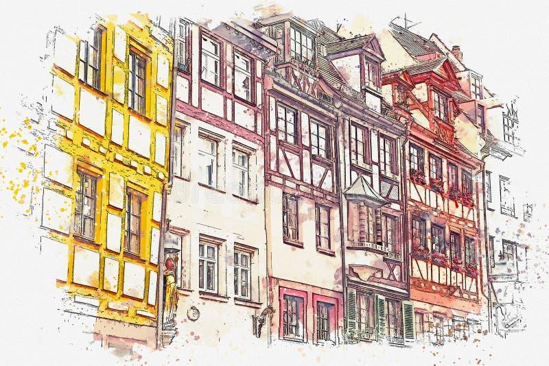 水彩剪影或传统德国建筑学的例证在纽伦堡在德国 库存例证