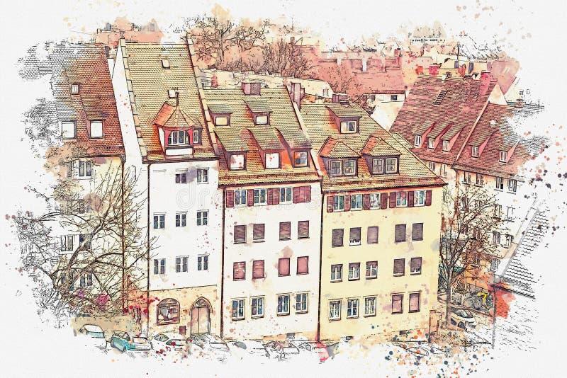 水彩剪影或例证 美好的全景城市视图 德国纽伦堡 库存例证
