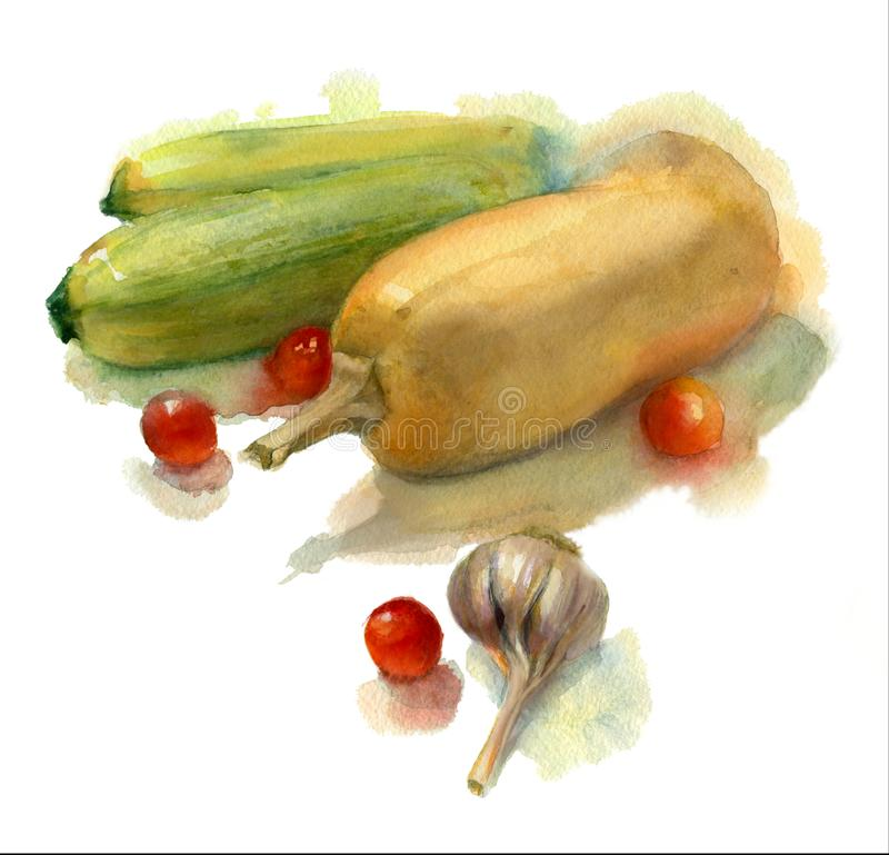 水彩剪影束新鲜蔬菜 库存例证