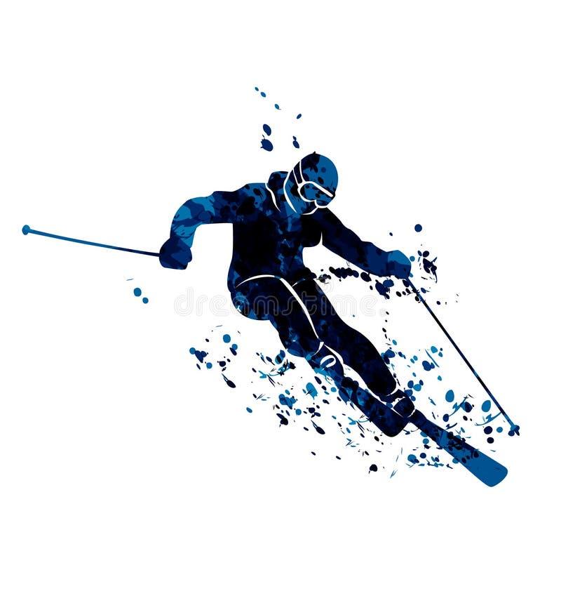 水彩剪影滑雪者 库存例证